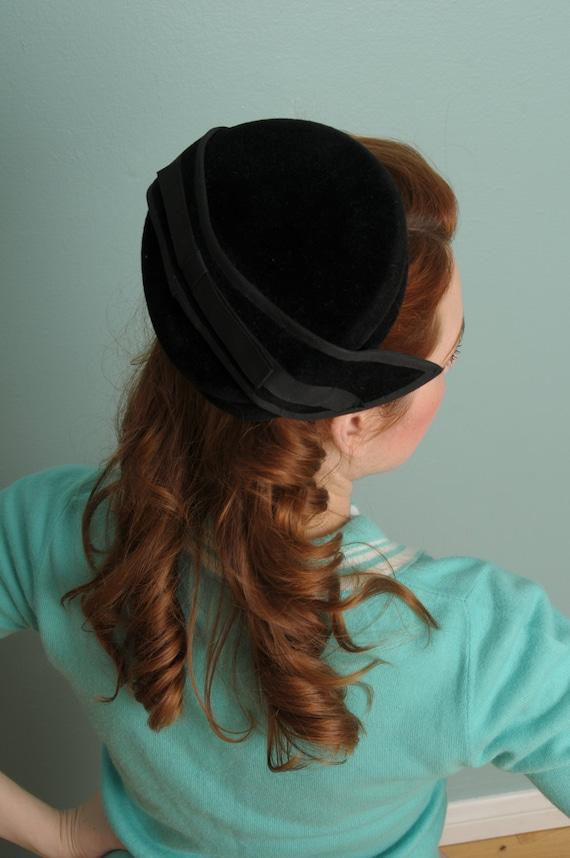 Vintage Black Velvet Winged Hat