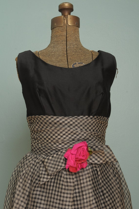 Vintage Black and White Dress with Pink Flower