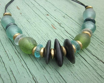 Recycled Glass and Monterey Jade Bead Choker