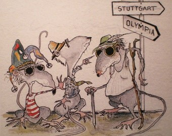 Art Greeting Card Three Blind Mice Cartoon Illustration Picture Critters Mouse