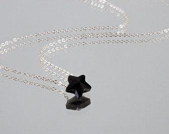 Dainty Star Necklace - Sterling Silver - Jet Black