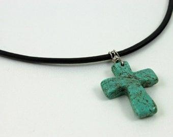 SALE - Mens Necklace - Magnesite Cross