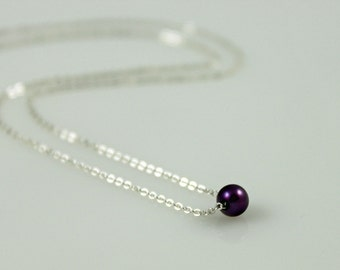 Dainty Purple Pearl Necklace - Sterling Silver