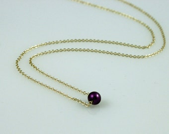 Dainty Purple Pearl Necklace - 14kt Gold Filled