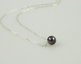Dainty Metallic Violet Pearl Necklace - Sterling Silver