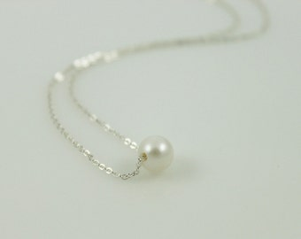Dainty White Pearl Necklace - Sterling Silver