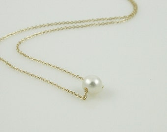 Dainty White Pearl Necklace - 14kt Gold Filled