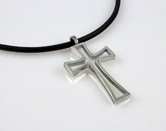 Mens Necklace - Open Middle Stainless Steel 2in1 Cross