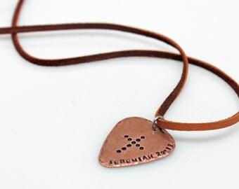 SALE - Mens Necklace - Stamped Cross Scripture Guitar Pick Necklace