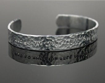 Twilight Quote Cuff Bracelet - Hammered Silver Aluminum