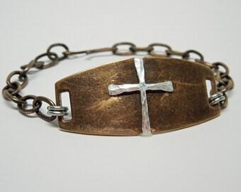 Mens Bracelet - Sterling Silver Cross on Brass