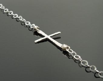 Long Sideways Cross Necklace - Sterling Silver