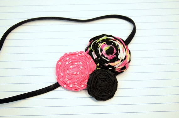 Pink Passion Fruit Fabric Flower Rolled Rosette Trio Headband