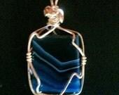 Blue Brazilian Agate Pendant