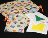 """Fabric Memory Game with Drawstring Bag - """"What a Hoot"""" Gender Neutral Owl Print - Ready to Ship"""