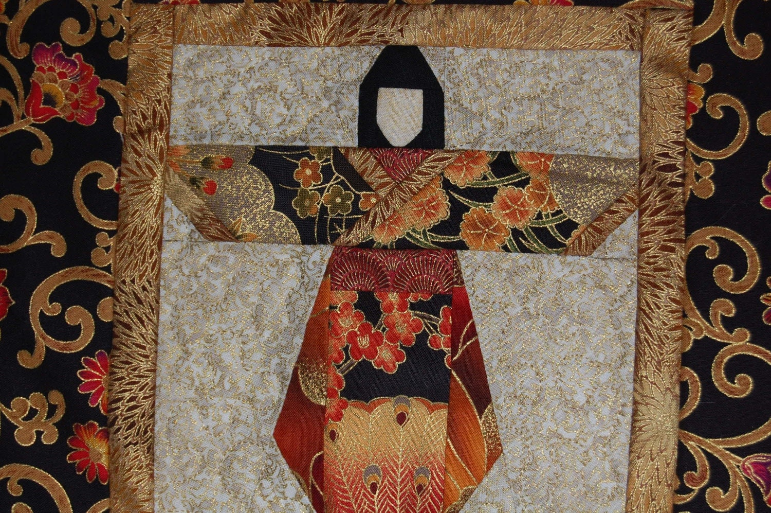 Red And Gold Asian Fabric Geisha Wall Hanging Quilt