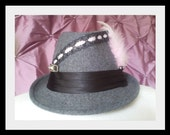 BabyRock Fedora \/ Grey with Black Satin, Black Lace, Ballet Pink Ribbon, Light Pink Feathers, Rhinestones and Gunmetal Studs