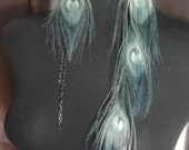 RESERVED for Shawna, Replacement Earring / Long Feather Earrings / Seafoam Peacock Long Feather Earrings