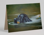 Newfie Swimming Greeting Card