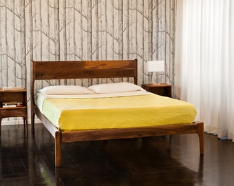 Classic Modern Bed with Night Stands (Mid Century Danish Modern Style)
