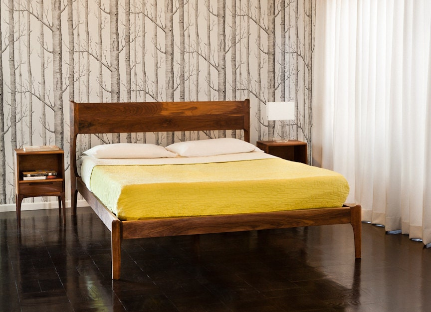 Classic modern bed with night stands mid century danish for Mid century style bed