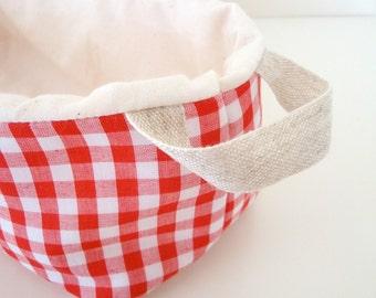 Cotton Bread-Shaped Bin Basket / Organizer / Storage - Red