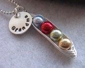 Grandma personalized necklace - Pea Pod necklace - charm - grandchildren - children - name - peas in a pod - mothers necklace - SALE ITEM