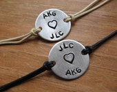 Couples bracelets set of 2 - personalized bracelets - handstamped bracelets - His and Her bracelets - best friends bracelet - name - initial
