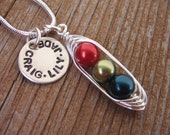 Personalized necklace - handstamped necklace - peas in a pod necklace - mothers necklace - silver charm - name necklace - bff - SALE ITEM