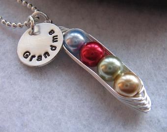 Custom Grandma Necklace - Pea Pod necklace - Charm Necklace - grandchildren - children - name - peas in a pod - Custom Mothers Necklace