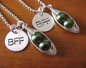 Friendship Necklace Set - Set of 2 - Pea Pod necklace - BFF necklace - Gift for Her - Friendship Gift - Gift for Friend - Besties Necklaces