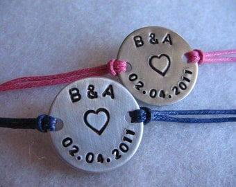 His and Her couples bracelet set - personalized hand stamped bracelet - initials - date - heart - custom - valentines - bracelets - bff