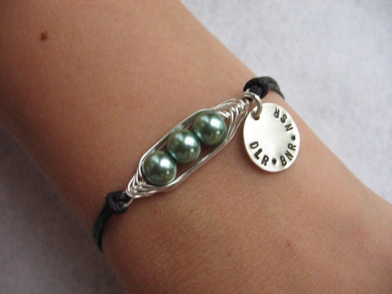 Two, three, four, or five Peas in a Pod Bracelet with Personalized Disc (24 color options) could also be an Anklet.
