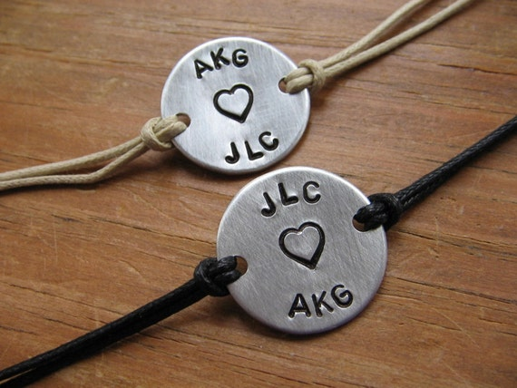 Couples bracelets - personalized bracelets - handstamped bracelets - His and Her bracelets - best friends bracelet - name - initials - bff