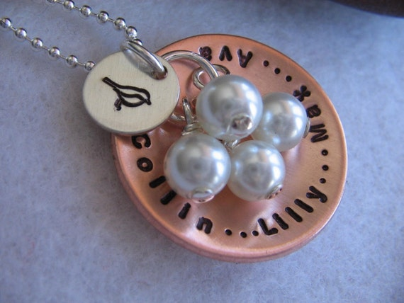 Mothers Nest - a Personalized Handstamped cupped copper disc OR aluminum disc, a silver bird disc, and your choice of 1 - 4 Pearl dangles