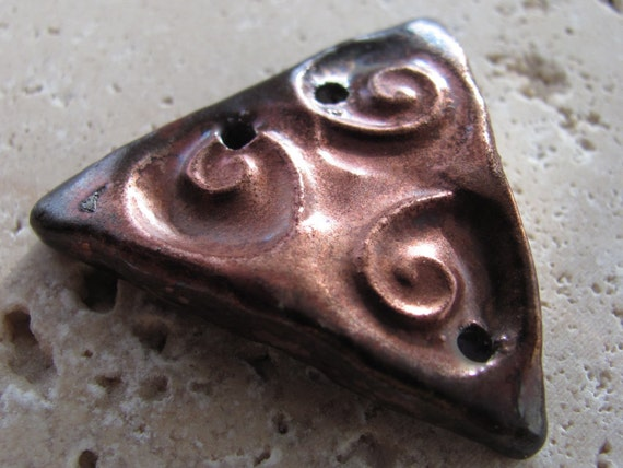 Radiant Raku Bracelet Focal - Handmade Ceramic Bracelet Focal