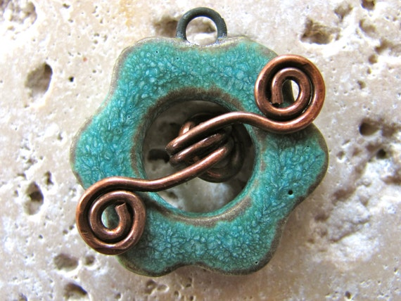 RESERVED for Kaushambi - Petite Toggle Clasp in Copper Patina