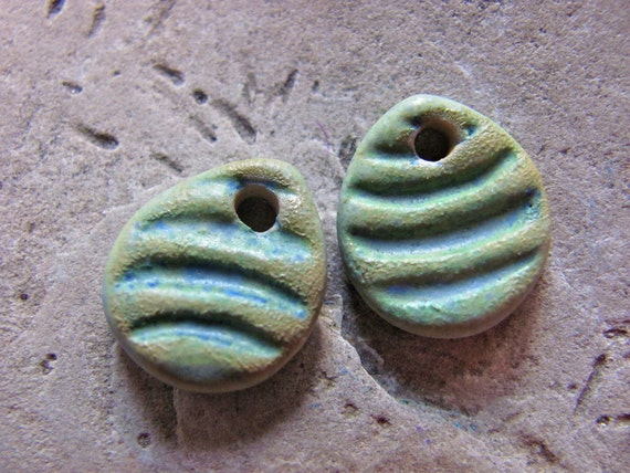 Mini Peruvian Green Tears with Grooved Texture - Handmade Ceramic Beads