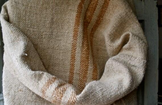 "Gorgeous Grain sack ecru and caramel lines 20"" x 50"" great condition Rustic Primitive & Provencal"
