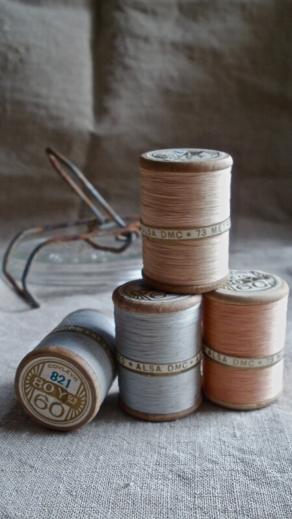 Antique spools cotton threads French collection of four gorgeous wooden bobbins