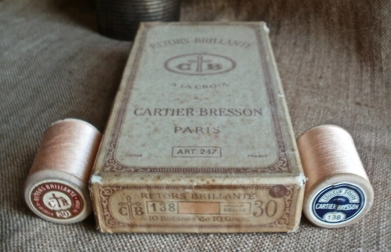 Reels Bobbins - Wonderful French haberdashery box of spools Cartier-Bresson peach color