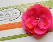 Mixed Hot PInk with Orange Flower Clip Plus Headband