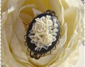 Black White Gothic Rose Cameo Ring Antique Brass  Elegant Vintage Style Jewelry by Alyssabeths