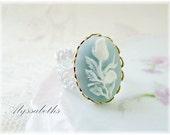 SALE..Shabby Chic Pastel Blue & White Flower Cameo Filigree Ring by Alyssabeths