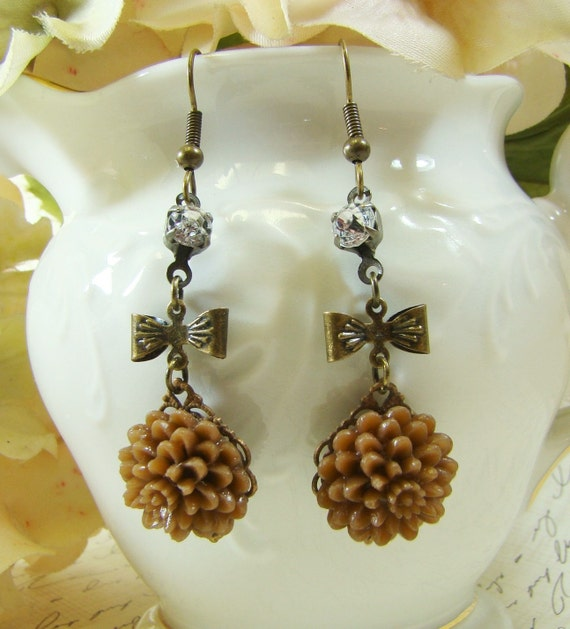 SALE..Gingerbread Flower Cabochon & Rhinestone Earrings by Alyssabeths