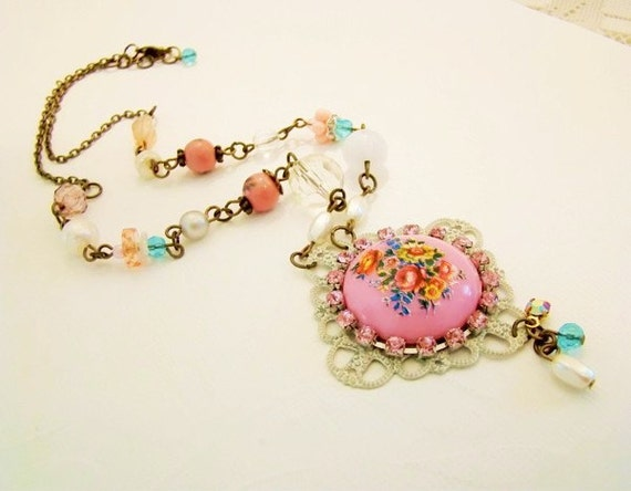 SALE..Shabby Chic Assemblage Necklace Pink Floral Cameo Rhineston OOAK  Beaded  . Elegant Vintage Style Jewelry by Alyssabeths