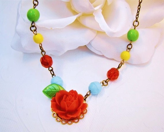 Colorful Red Rose Flower Cabochon Beaded Necklace . Elegant Vintage Style Jewelry by Alyssabeths