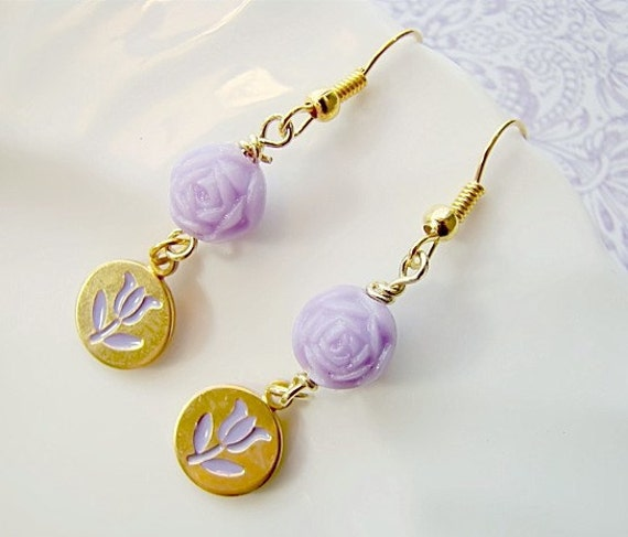 SALE..Charming Lavender Flower Bead Charm Earrings by Alyssabeths
