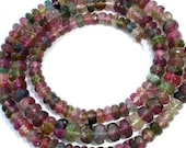 3.5mm Giant Size, Full Strand,Brand New, WATERMELON TOURMALINE Faceted Rondelles, Amazing Rondelles,Great Item