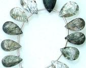 GREEN RUTILATED QUARTZ Cut Stone Shape Briolettes,12-16mm Long,Amazing 11 Pieces of Pear